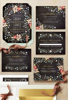 chalkboard wedding invitations / http://www.deerpearlflowers.com/chalkboard-wedding-ideas/2/