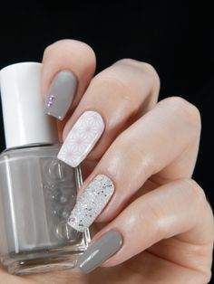 A Good Plan ~ base polish Essie 'Masterplan' and 'White' on middle finger stamped with an image from LillyAnna 05 plate using Konad 'Pastel Violet' ~ ring finger OPI 'Muppets World Tour' over white base and pink gems on index finger to finish ~ by Better Nail Day