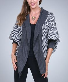 Look what I found on #zulily! Gray & White Geo Open Cardigan - Women by Ananda's Collection #zulilyfinds