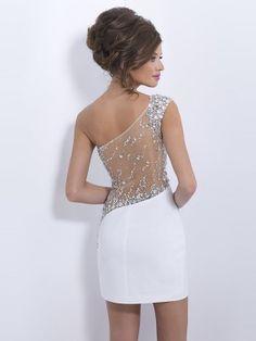 Tubino Monospalla Senza Maniche Perline Raso Corto / Mini Dresses - Abiti Formali - Abiti da Cerimonia