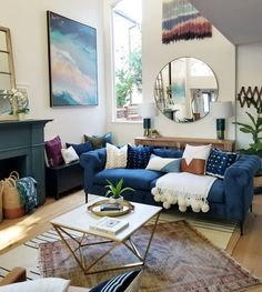 28 Brilliant Neutral Living Room Ideas : Beyond Words neutral living room Ideas. Blush Living Room, Blue Couch Living Room, Teal Living Rooms, Living Room Color Schemes, Living Room Interior, Home And Living, Living Room Decor, Teal Couch, Navy Sofa