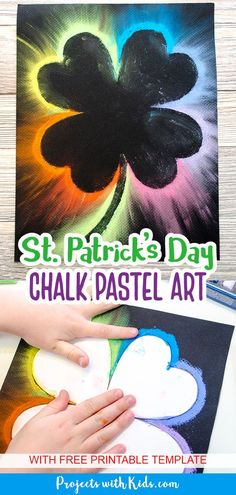 This contains: Rainbow chalk pastel art on black paper for St. Patrick's Day. Kids art project. Clay Art Projects, Craft Projects For Kids, Craft Activities For Kids, Arts And Crafts Projects, St Patricks Day Crafts For Kids, St Patrick's Day Crafts, Chalk Pastel Art, Chalk Pastels, Painting For Kids