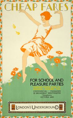 "Vintage London tube poster ""For school and pleasure parties"" - classic. Vintage London, Old London, London Pride, London City, London Underground, Underground Lines, Pleasure Party, London Transport Museum, Public Transport"