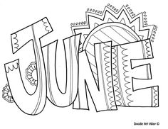June Coloring Page Make your world more colorful with free printable coloring pages from italks. Our free coloring pages for adults and kids. Summer Coloring Pages, Coloring Pages To Print, Coloring Book Pages, Printable Coloring Pages, Coloring Pages For Kids, Kids Coloring, June Colors, Clip Art, To Color