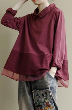 Art Burgundy Clothes Lapel Patchwork Baggy Shirt Baggy Shirts, Japan Fashion, African Dress, Fashion Shoot, Boho Outfits, Shirt Outfit, Long Sleeve Tops, Couture, Burgundy