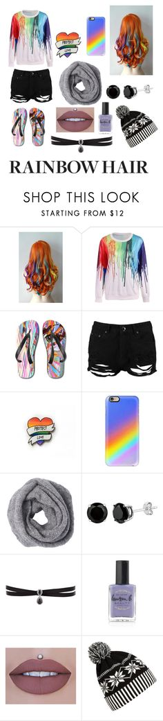 """""""Rainbow Hair Contest Entry"""" by madcat01 ❤ liked on Polyvore featuring beauty, Boohoo, Casetify, Fallon, Lauren B. Beauty, WithChic, hairtrend and rainbowhair"""