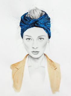 Scarf - LIMITED EDITION PRINT Watercolour & Graphite fashion Illustration - Giclee Print A4 auf Etsy, 22,85 €