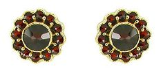 Bohemian Garnet Flower Blossom Stud Earrings in 14 Karat Gold and Sterling Silver Vermeil $180.00 http://www.antiquejewelrymall.com/e142post.html