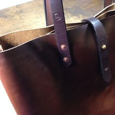 Brown Horween Leather Tote with Inside Pocket by KochLeather