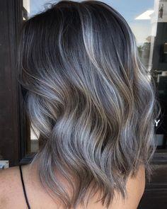 Bayalage Dark Hair, Balayage Hair Grey, Balayage Hair Caramel, Light Blonde Hair, Light Hair, Ash Brown Bayalage, Ombre Hair, Ash Gray Hair Color, Hair Color For Black Hair