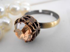 Swarovski Ring Golden Shadow Crystal by ParisiJewelryDesigns Rose Gold Morganite Ring, Solitaire Ring, Jewelry Rings, Fine Jewelry, Diy Rings, Custom Jewelry, Vintage Jewelry, Engagement Ring Settings, Engagement Rings