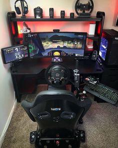Rate this gaming setup🖱️💻 . Computer Gaming Room, Gaming Room Setup, Gaming Pcs, Computer Setup, Pc Setup, Desk Setup, Gaming Chair, Computer Technology, Racing Simulator