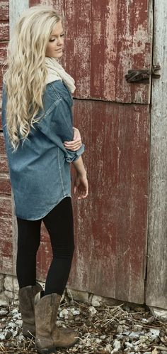 oversized chambray shirt, chunky scarf, black leggings, leather boots.