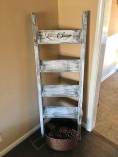 blanket ladder wooden ladder wooden blanket ladder by DandEcustom Diy Furniture Projects, Diy Pallet Projects, Wood Furniture, Gothic Furniture, Wooden Blanket Ladder, Quilt Ladder, Wooden Ladder, Diy Ladder, Ladder Decor