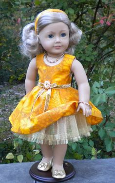 Fall Party Dress for 18 dolls like American by mydollyscloset1
