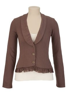Lace Ruffle Knit Blazer available at #Maurices