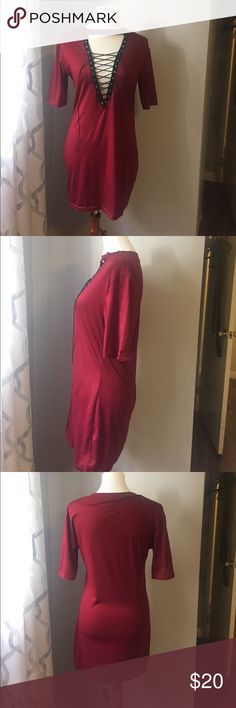 "SOLD on Ⓜ️ercari Never worn says size large more like a medium fitted depending on how tall you are it could be tunic or a dress color is more of a dark red / dark wine very pretty color chest a little over 17.5"" waist little over 15.5"" length almost 31.5"" sleeve cute folded this is really on trend right now very stretchy poly/ spandex blend reasonable offers please it's brand new Dresses Mini"