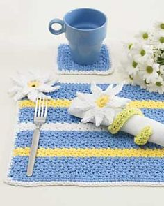 Ravelry: Daisy Table Setting: Place Mats pattern by Lily / Sugar'n Cream - free pattern. PDF SAVED.