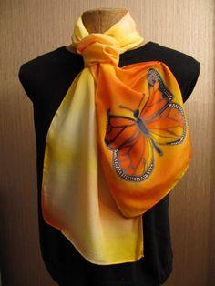Hand Painted Monarch Butterfly in Yellow Orange on Crepe Silk Scarf @karenvanloon   #bmecountdown  - Accessories on ArtFire