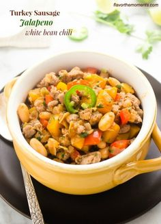 Turkey Sausage Jalapeno White Bean Chili | flavorthemoments.com