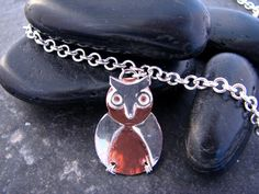 Items similar to Silver and Copper Owl Pendant with two chain choices - Upcycled Recycled Repurposed on Etsy Owl Pendant, Necklaces, Bracelets, Heart Charm, Copper, Chain, Silver, Etsy, Jewelry