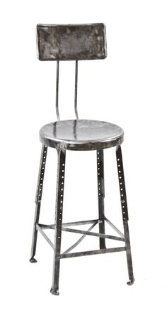 c. 1930's refinished vintage american made folded and pressed heavy gauge adjustable height stool with backrest