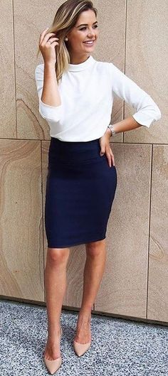 #fall #outfits  women's white long sleeve shirt and blue midi skirt