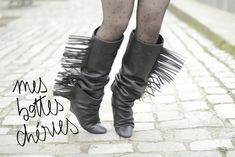 Longing for boots? Clever DIY tutorial - it is basically spats to wear with shoes or short boots, only I would leave off the fringe