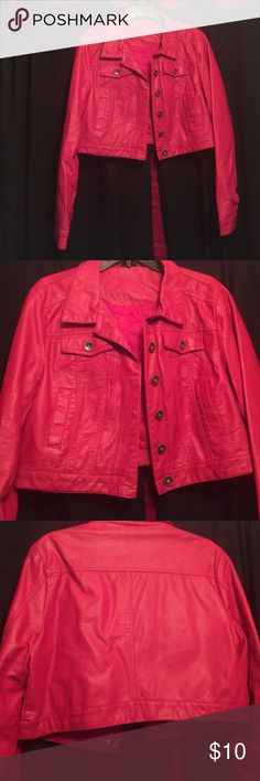 Red leather jacket Red leather jacket. Mid length. Still in very good condition. Size XL Rue 21 Jackets & Coats