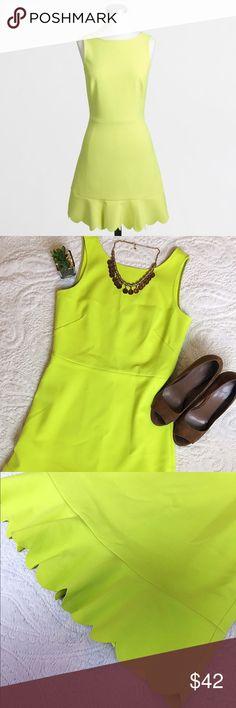 Selling this J. Crew Drop Hem Scalloped Dress in Kiwi on Poshmark! My username is: blalock720. #shopmycloset #poshmark #fashion #shopping #style #forsale #J. Crew #Dresses & Skirts