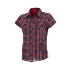 215571bcff Sedona es una original  camisa  country roja de manga corta a cuadros con  bordados para  cowgirl. Lleva bordada una gran rosa en el costado en color  rojo y ...