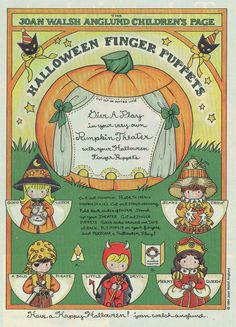 Joan Walsh Anglund Halloween paper doll craft page finger puppets