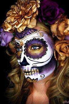 Halloween Makeup Sugar Skull, Sugar Skull Costume, Halloween Eyes, Sugar Skull Makeup Tutorial, Halloween Halloween, Vintage Halloween, Skull Face Makeup, Halloween Costumes, Skeleton Makeup
