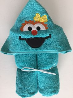 "Spanish Speaking Monster Applique Hooded Bath/Beach Towel 30"" x 54"" by MommysCraftCreations on Etsy"