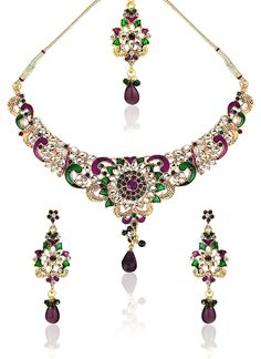 Alluring Look Stone Studded Necklace Set