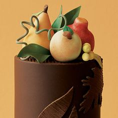 Rolled chocolate and marzipan fruit