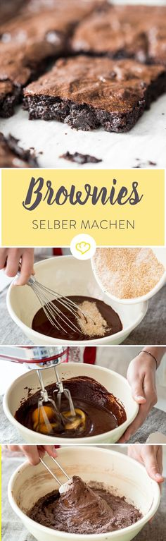 Die perfekten Brownies sind weich und saftig, fast noch ein bisschen roh – '… The perfect brownies are soft and juicy, almost a bit raw – & # fudgy & # just. With these 9 commandments you are baking brownies like from America. Cheesecake Brownie, Brownie Recipes, Cookie Recipes, Beste Brownies, No Bake Brownies, Fudgy Brownies, No Bake Desserts, Food Cakes, Food Inspiration