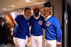 Anthony Rizzo, Dexter Fowler, and David Ross on the set of Saturday Night Live