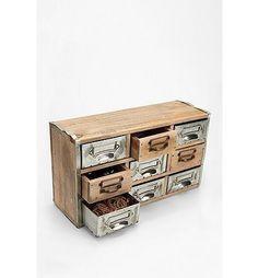 Reclaimed Card Catalog Organizer Cabinet - cute for studio