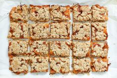 Apricot Crisp Bars (traditional and gluten free recipes included) by Barefeet In The Kitchen (swapped cin for grated ginger ~ 1 T, no sugar with fruit, sugar in crisp) Köstliche Desserts, Gluten Free Desserts, Gluten Free Recipes, Delicious Desserts, Flourless Desserts, Sweet Desserts, Vegan Recipes, Fruit Recipes, Dessert Recipes