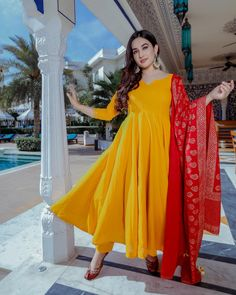 Dawn Handblock Suit Set – Aachho Yellow Cotton kurta Set Crafted with Golden Handblock dupatta. Red Kurti, Yellow Kurti, Yellow Punjabi Suit, Dress Indian Style, Indian Dresses, Indian Outfits, Western Outfits, Rohit Bal, Anita Dongre