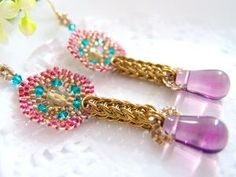 Cranberry Earrings Gold Chainmaille Amethyst by JeannieRichard