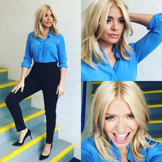 "Holly Willoughby on Instagram: ""Wednesday's @itvthismorning look, trousers @worldmcqueen ❤️ shirt @andotherstories  shoes @gianvitorossi  thanks @patsyoneillmakeup and @angiesmithstyle xxx"""