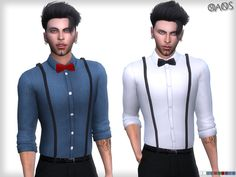 The Sims Resource: Suspender Shirt With Tie by OranosTR • Sims 4 Downloads