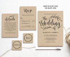 Vintage bruiloft uitnodiging, afdrukbare huwelijksuitnodigingen, Kraft bruiloft uitnodiging, 5-delige Suite, 3 kleuren opgenomen, bewerkbare tekst