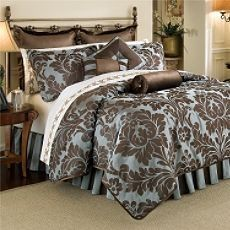 Damask Blue and Brown Bedding. Love this bedding Brown Comforter, Bed Comforter Sets, Comforters, Master Bedroom Bathroom, Dream Bedroom, Master Bedrooms, Hotel Collection Bedding, My Home Design, Home Decor Inspiration