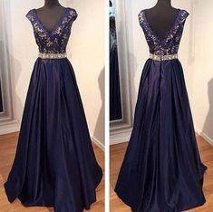 Charming Prom Dress,Satin  Prom Dress,Appliques Prom Dress,V-Neck Evening Dress P587