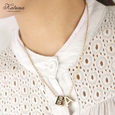 Katrina 26 Letters Pendant Necklaces A/B/C/D/E/F/G/H/I/G/K/L/M/N/O/P/Q/R/S/T/U/V/W/X/Y/Z Golden Letter Pendant for women #Affiliate