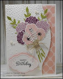 Project No. 6 from the JDRF fundraiser day is a pretty card using the Beautiful Bouquet stamp set and the matching Bouquet Bunch Framelits....