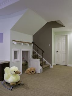 Basement Design, Pictures, Remodel, Decor and Ideas - page 4 Kids Play Area, Kids Room, Playroom Design, Indoor Playhouse, Play Houses, Basement Stairs, Basement Ideas, Basement Colors, Kids Basement